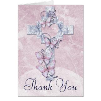 Christian Cross with Butterflies Thank You Card