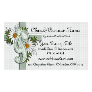 Christian Cross with Daisies & Bow Business Cards
