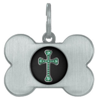 """Christian Cross with """"Emerald"""" Stones Pet Name Tag"""