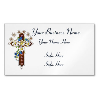 Christian Cross With Flowers Halo Magnetic Business Card