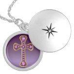 "Christian Cross with ""Garnet"" Stones Locket"