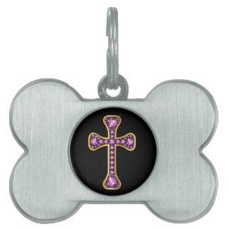 "Christian Cross with ""Garnet"" Stones Pet Tag"