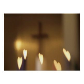 Christian Cross with Heart Flames Print