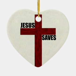 Christian Cross with Jesus Saves Ceramic Ornament