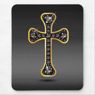 "Christian Cross with ""Onyx"" Stones Mousepad"