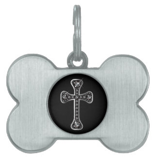 """Christian Cross with """"Onyx"""" Stones Pet Name Tag"""