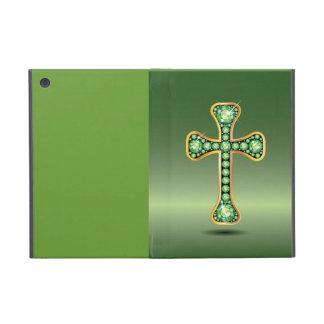 "Christian Cross with ""Peridot"" Stones Cover For iPad Mini"