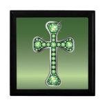 "Christian Cross with ""Peridot"" Stones Jewelry Box"
