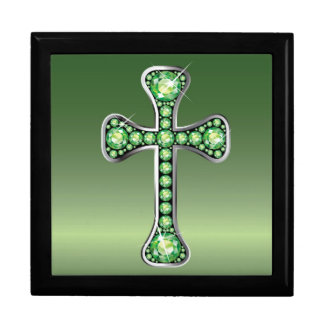 "Christian Cross with ""Peridot"" Stones Jewelry Box"