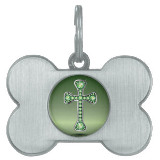 """Christian Cross with """"Peridot"""" Stones Pet Name Tag"""