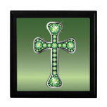 "Christian Cross with ""Peridot"" Stones Trinket Box"