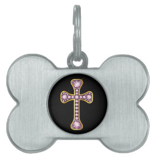 "Christian Cross with ""Rose Quartz"" Stones Pet ID Tag"