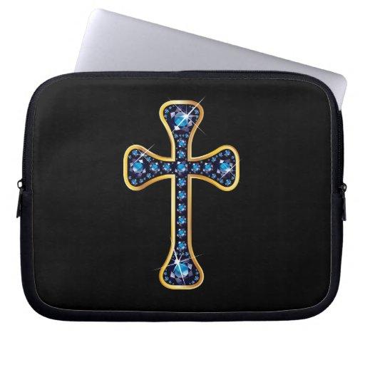 "Christian Cross with ""Sapphire"" Stones Laptop Sleeve"