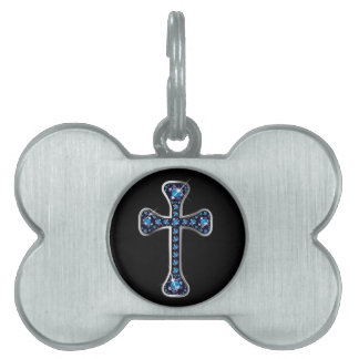 """Christian Cross with """"Sapphire"""" Stones Pet ID Tag"""