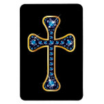 "Christian Cross with ""Sapphire"" Stones Rectangular Photo Magnet"