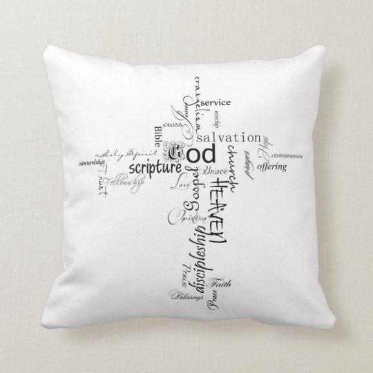 christian cross words throw pillow