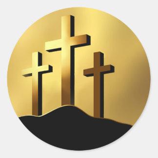 Christian Crosses on Calvary Round Stickers