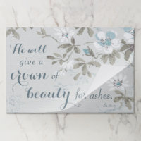 Christian Crown of Beauty Blue Floral Paper Placemat