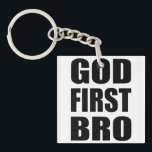 """Christian Custom Gift, GOD FIRST BRO Keychain<br><div class=""""desc"""">This is a custom Christian theme gift that is perfect to show off your faith,  or to share it with someone you love.   This amazing custom Christian gift would make an amazing keepsake for anyone.</div>"""