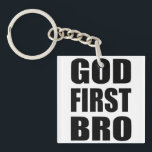 "Christian Custom Gift, GOD FIRST BRO Keychain<br><div class=""desc"">This is a custom Christian theme gift that is perfect to show off your faith,  or to share it with someone you love. 