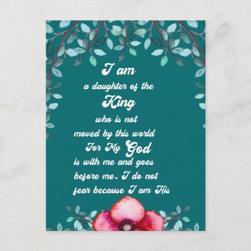 Christian Daughter Of The King Christian  Postcard