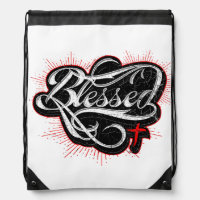 Christian Drawstring Backpack Blessed