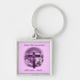 Christian Easter Promise Silver-Colored Square Keychain