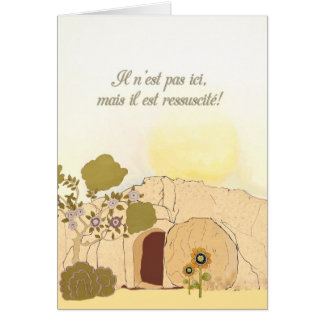 Christian Easter wishes in French He is risen Greeting Card