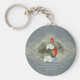 Christian Faith Art ~ Matthew 19:26 Basic Round Button Keychain
