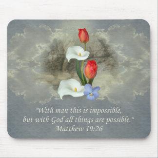 Christian Faith Art ~ Matthew 19:26 Mousepads