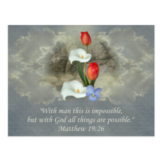Christian Faith Art ~ Matthew 19:26 Postcard