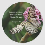 Christian Faith Art ~ Philippians 4:5 Classic Round Sticker