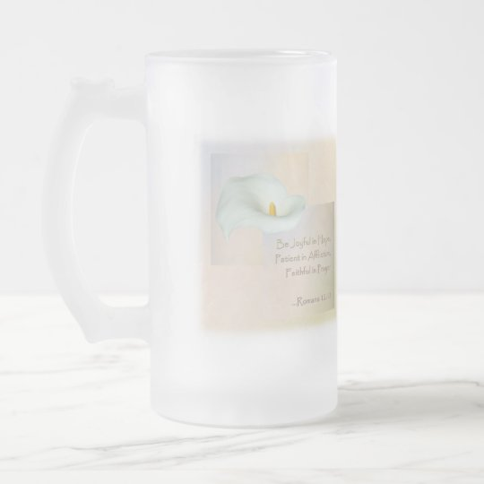 Christian Faith Art ~ Romans 12:12 Frosted Glass Beer Mug
