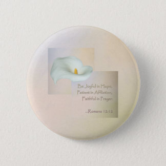 Christian Faith Art ~ Romans 12:12 Pinback Button