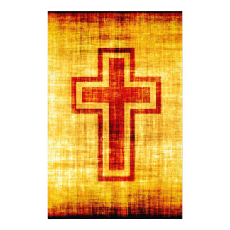 Christian Faith Cross on Parchment Paper Customized Stationery