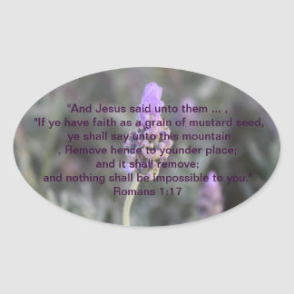 Christian Faith Scripture Oval Lavender Stickers