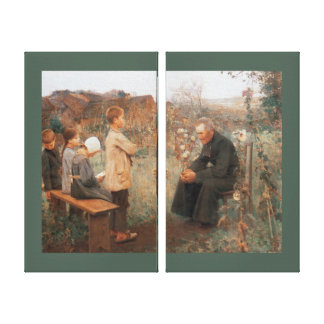 Christian Fine Art Catechism Lesson and Children Canvas Print