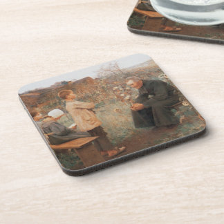 Christian Fine Art Vintage French Painting Beverage Coaster