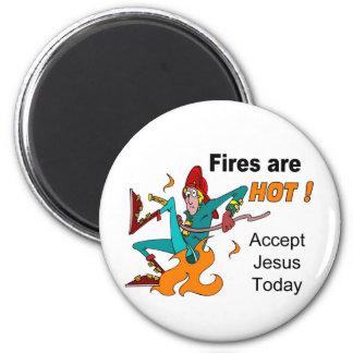 Christian Fireman on fire design Magnet
