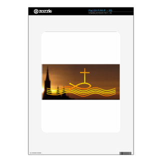 Christian fish and Cross Decal For iPad