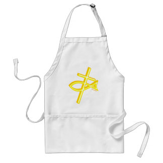 Christian Fish and cross gift design Adult Apron