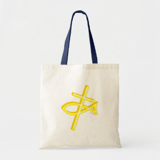 Christian Fish and cross gift design Budget Tote Bag