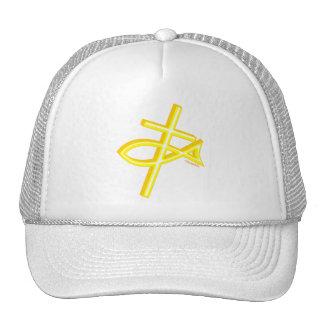 Christian Fish and cross gift design Mesh Hats