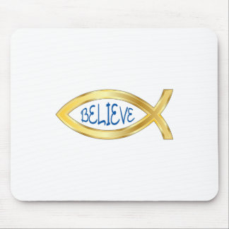 CHRISTIAN FISH BELIEVE MOUSE PAD