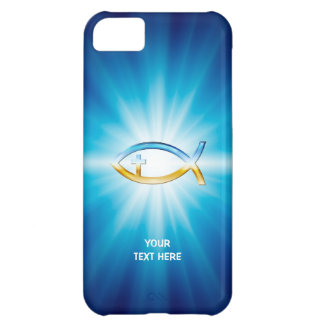 Christian Fish Cross blue background | Unique Gift Case For iPhone 5C