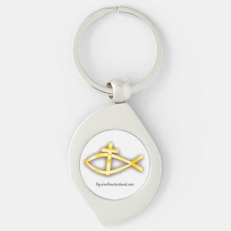 Christian Fish Cross Symbol Silver-Colored Swirl Metal Keychain