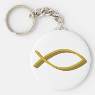 CHRISTIAN FISH FULL FRONT BASIC ROUND BUTTON KEYCHAIN