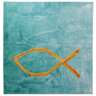 Christian Fish- Gold on blue/green Napkin