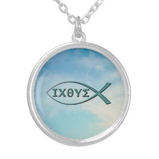 Christian Fish - Jesus Fish Round Pendant Necklace