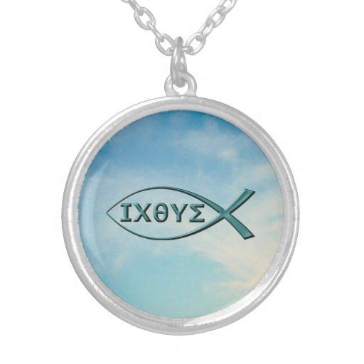 Christian fish jesus fish round pendant necklace zazzle for Christian fish necklace